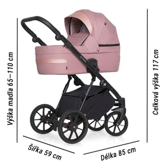 Kočárek Riko Ultima 2021 Pink rozměry